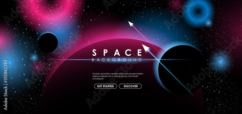 Fototapeta Creative space background with abstract shape and planets. Colorful space poster with text template. Vector infinite Galaxy background. obraz