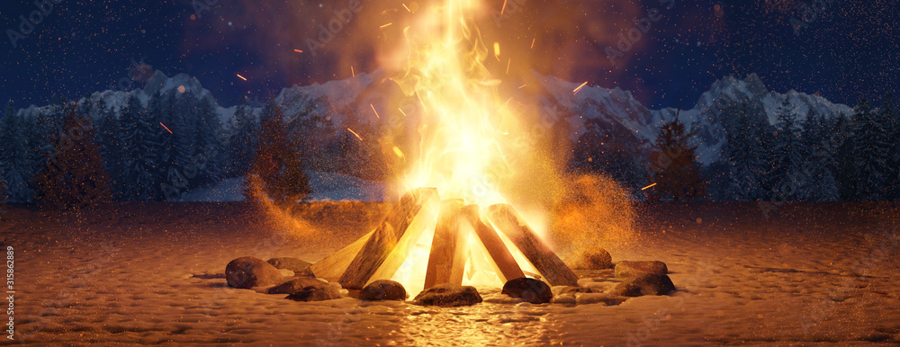 Obraz Glühendes Lagerfeuer im Schnee bei Nacht auf offenem Feld. 3D Rendering fototapeta, plakat