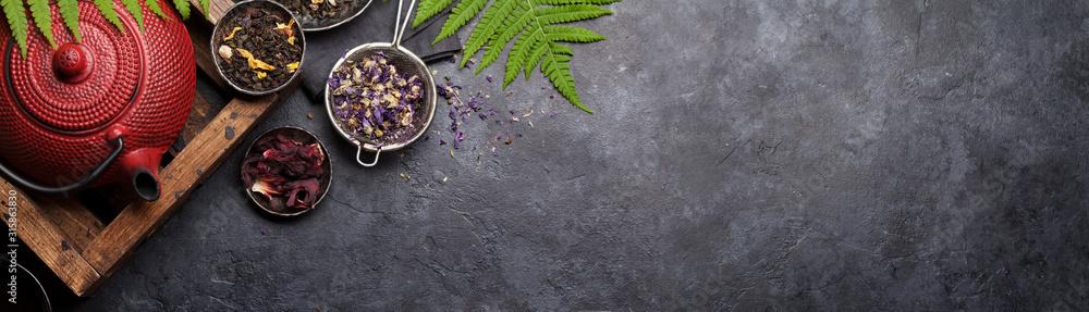 Fototapeta Set of herbal and fruit dry teas