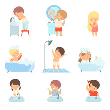 Children Taking Bath And Washing Themselves Vector Illustrations Set. Little Girl Brushing Her Hair And Boy Washing His Face