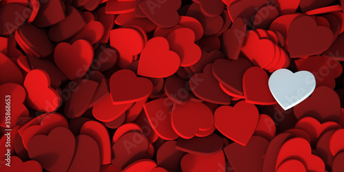 Fototapeta Red hearts background with a white one obraz