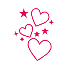 Happy Valentines Day Hearts With Stars