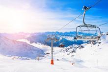 Ski Resort In Winter Alps. Val...