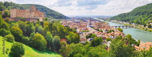 heidelberg - city in germany at the neckar from above Canvas Print