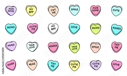 Sweet heart candy. Sweetheart candies isolated on white background, conversation sweets for valentines day, valentine sugar food hearts