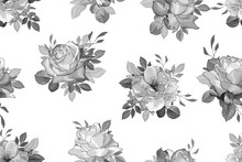 Monochrome Seamless Floral Pattern With Grey Flowers Roses And Leaves On White Background. Hand Drawn. For Design Textile, Wallpapers, Wrapping Paper, Prints. Vintage. Vector Stock Illustration.