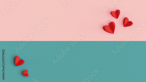 Valentines Day background, colorful decoration design with space for text Tablou Canvas