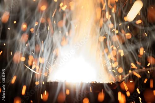 Macro photo of bursting gunpowder Tablou Canvas