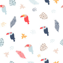 Seamless Pattern With Toucan A...