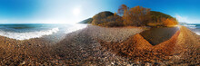 Autumn Panorama Of A Pebble Be...