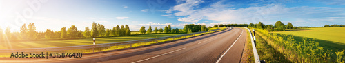Fototapeta asphalt road panorama in countryside on sunny summer day obraz