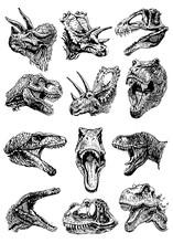 Graphical Set Of Dinosaur Port...