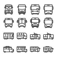 Set Of Bus Icon. Vector Illust...