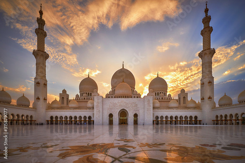 Canvas Print Sheikh Zayed Grand Mosque at sunset