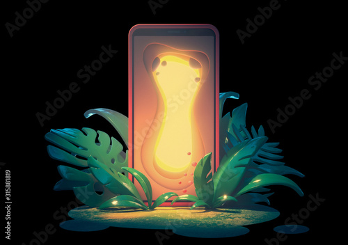 Obraz Magic gate with a glowing yellow light. Concept art smartphone with portal screen to another world. Sinuous forms. 3d illustration mobile phone in the bushes in the jungle isolated on black background - fototapety do salonu