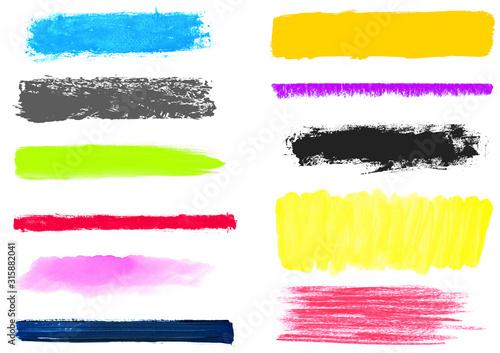 Fotografía Bunte gemalte Linien und Markierungen mit Pinsel und Stift