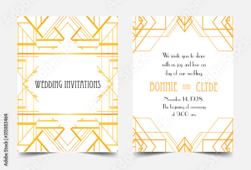 Photo Art Deco vintage invitation template design with illustration of flapper girl