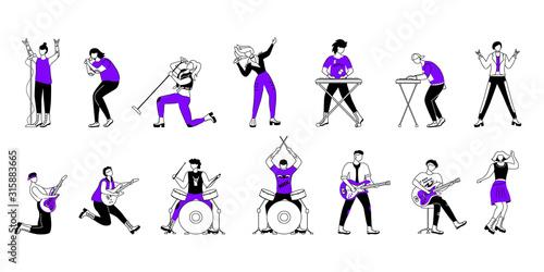 Tablou Canvas Rock musicians flat contour vector illustrations set
