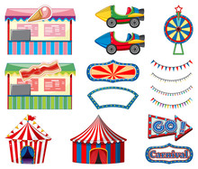 Set Of Circus Rides And Game B...