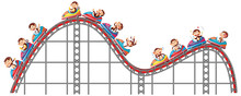 Monkeys Riding On Roller Coaster On White Background