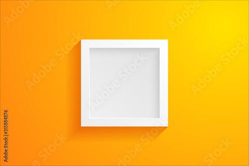 Vue de face d'un cadre moderne vide en 3D sur fond jaune Fototapet