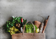 Flat-lay Of Healthy Grocery Sh...
