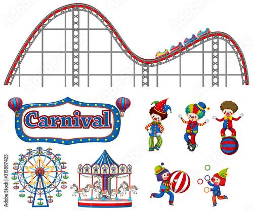 Fototapeta Large set of carnival items and clowns on white background obraz