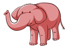 Isolated Picture Of Pink Elephant