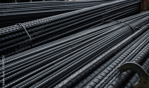 Building armature in the warehouse of metallurgical products or on construction site Canvas Print