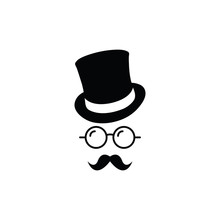Gentleman Icon. Hat. Glasses. Mustache. Vector Icon Unknown Man With A Mustache In The Hat, Glasses. Inspector Or Detective Icon.
