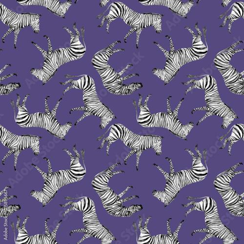 Watercolor vector seamless patterns with safari animals Wallpaper Mural