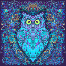 Cute Abstract Owl And Psychede...