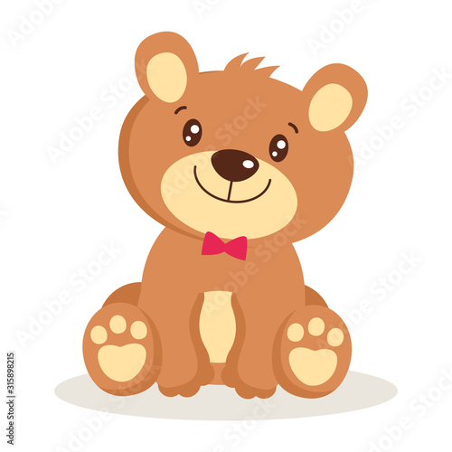 Toy for girls. Cute cartoon teddy bear puppies sitting vector illustration. Little bear character isolated. Small bear animal flat style icon vector illustration design.