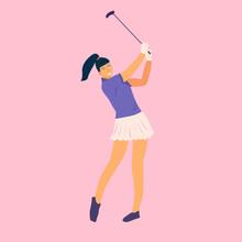 Golfer Woman In Flat Style. Go...