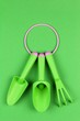 canvas print picture - set of green plastic garden tools on a green background close up top view