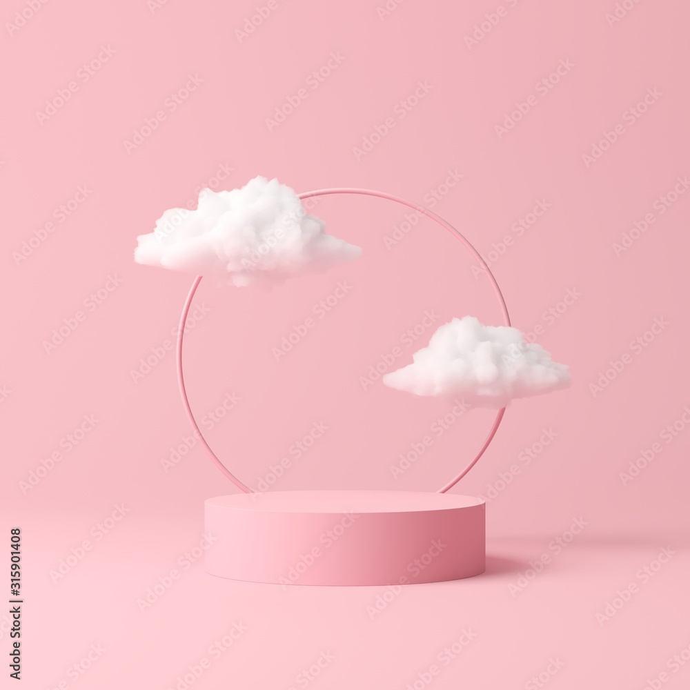 Fototapeta Abstract background, mock up scene geometry shape podium for product display. 3D rendering
