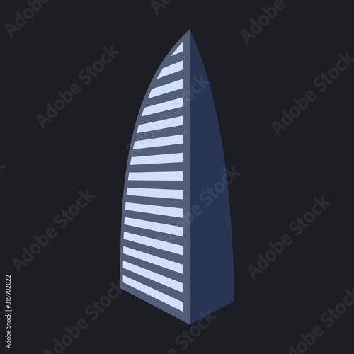 Dubai, UAE vector illustration of Burj Al Arab hotel Canvas Print