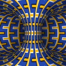 Moving Patterned Torus Of Blue Yellow Decorative Stripes. Vector Hypnotic Optical Illusion Illustration.