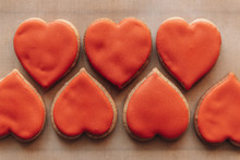 Heart-shaped Cookies On Baking Parchment