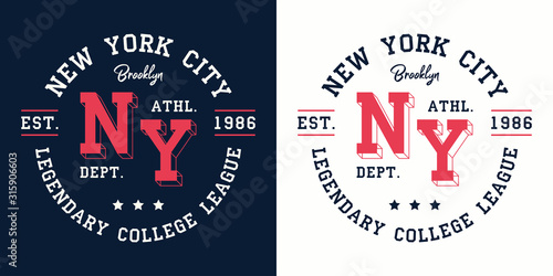 NY college league print for t-shirt design Poster Mural XXL
