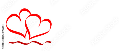 Vector illustration of two red hearts on a white background with space for text, vector banner,decoration element, graphics for greeting cards Fototapet