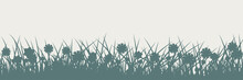 Grass Silhouette On White. Spring And Summer Background.