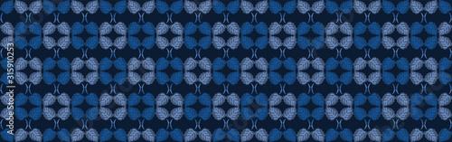 Classic blue simple watercolor leaf border Wallpaper Mural