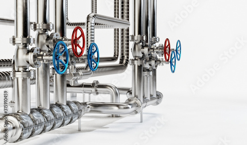 Photo Industrial Pipes with Valves on White Background