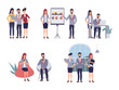 Business people teamwork office character. Colleague seminar meeting. Cartoon vector illustration in flat style.