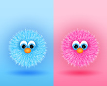 Funny Cartoon Characters In Blue And Pink Colors.