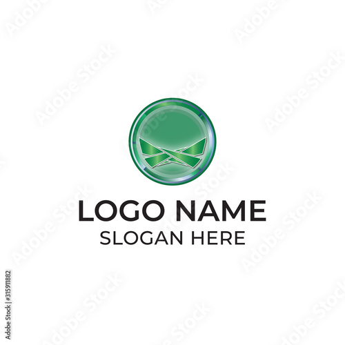 Photo A glass shape logo in round shape and in green ade color looks good on a white