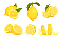Lemon Fruit Whole And Cut Into...