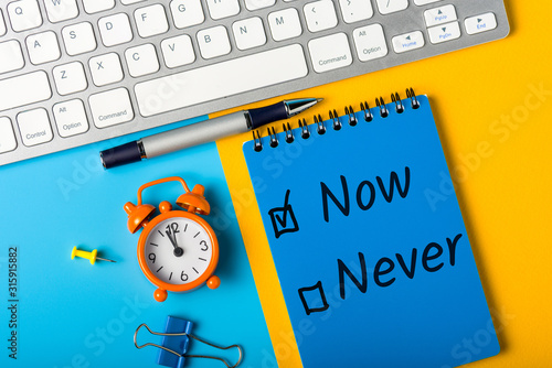 Fighting procrastination concept - check-box with call to act Now or never, Do i Canvas Print