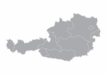 A Gray Map Of Austria Divided ...
